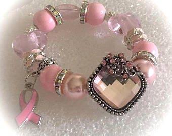 Breast CANCER  cancer AWARENESS  jewelry bracelets handmade