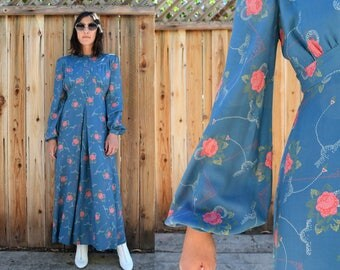 Vintage 70s VOGUE COUTURIER Design Handmade MAXI Dress with Poet Sleeves S M
