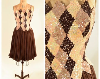 50s Chocolate Brown and Mocha Cream Sequin Harlequin Chiffon Dress // Dramatic Old Hollywood Glamour, Pinup Perfection