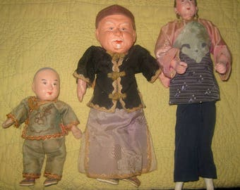 Trio of Vintage Asian Dolls, China