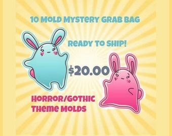 SALE Limited Quantity! 10 Mystery Mold Grab Bag-Horror/Gothic Theme Handmade Plastic Molds