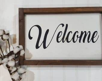 "Welcome Framed Farmhouse Wood Sign 7"" x 12"""