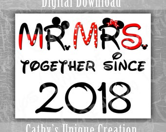 Mr and Mrs Together Since 2018 Couples Shirts, Walt Disney World Anniversary Trip, Custom Minnie Mouse Ears, Mickey Theme Clothes Printable