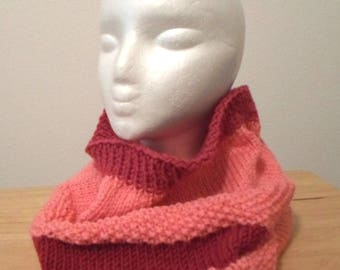 Cowl - Handknitted Cowl in Pink and Red