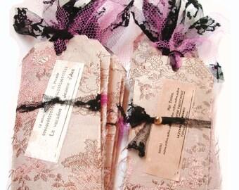 Handmade Fabric Tags. French Tags. Handmade Fabric Tags. Gift Tags. French Gift Tags. Fabric Tags. French Brocade Fabric. Lace.