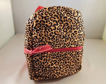Mini backpack Child School Pretend Play Back Pack Cheetah Red Back pack Ready to ship Accessories Pencil Bag Set