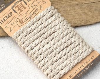 Hemp Rope, Nautical Rope, 6mm Twisted Rope, Natural Hemp Rope, Braided Hemp Rope