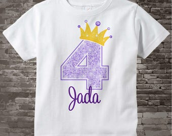 4th Birthday Shirt, Purple 4th Birthday Outfit top, Personalized Girls Birthday Shirt - 4th birthday girl - birthday girl gift - 01272016h