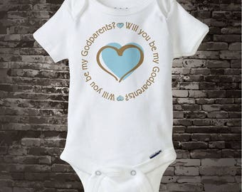 Boy's Will You Be My Godparents with Blue Heart Tee Shirt or Onesie 06062013a