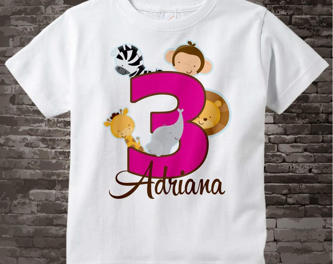Three Year Old Jungle Birthday Shirt with Name, Third Birthday Shirt, Personalized Jungle Birthday Theme 02132015a