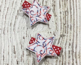Patriotic Clip, Patriotic Hair Clip, Toddler Clip, Clippie, Infant, No Slip, Star Hair Bow, Red White Blue, July 4th, Fourth of July, OOAK