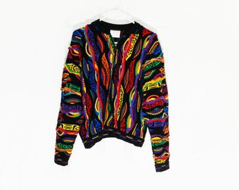 Coogi Sweater Authentic ORIGINAL Coogi of Australia Vintage Biggie's Sweater Unisex Large 1/4 Zip