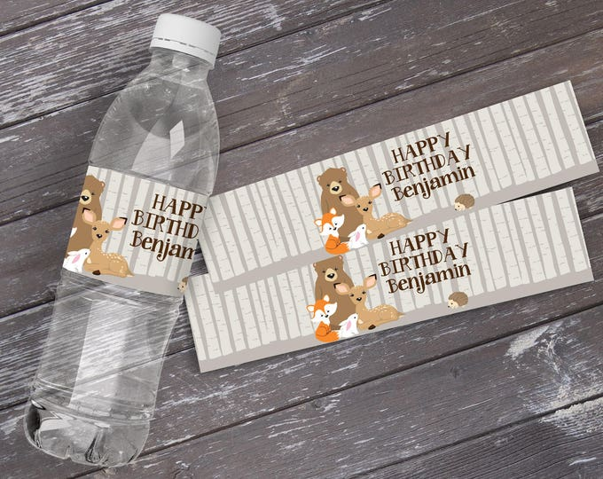Woodland Water Bottle Labels - Birthday, First Birthday, Woodland Animals, Forest Friends | EDITABLE Text - INSTANT Download Printable PDF