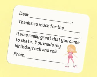 Roller Skating Thank You Cards - Fill in the Blank Cards, Roller Skating Birthday Party Cards, Roller Skating Birthday, Roller Skates Cards