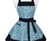 Womens Ruffled Retro Apron - Blue and Black Floral Cute Flirty Kitchen Pinup Kitchen Apron to Personalize or Monogram (DP)