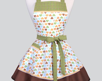 Womens Ruffled Retro Apron - Honey Bees and Hearts Womans Vintage Style Pinup Kitchen Apron to Personalize or Monogram