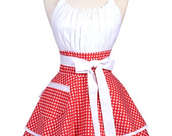 Womens Flirty Chic Apron - Cute White Red Gingham Check Retro Vintage Style Pinup Sexy Rockabilly Kitchen Apron with Pocket (DP)
