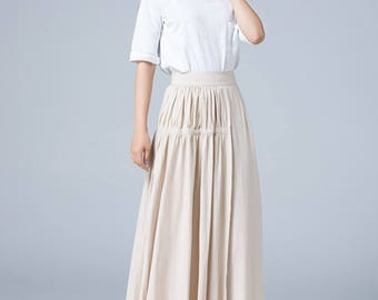 evening skirt, beige skirt, pleated skirt, tiered skirt, linen skirt, long skirt, asymmetrical skirt, fit and flare skirt, womens skirts1782