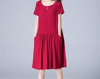 wine red dress, linen dress, mini dress, girls dresses, pleated dress, school dress, drop waist dress, loose dress, casual dress, gift 1784