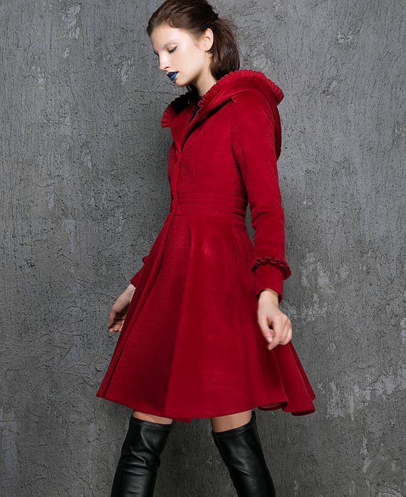 Red coat womens jackets fit and flare coat winter coat