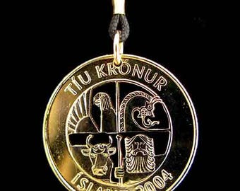 Cut Coin Jewelry - Pendant - Iceland - Shield