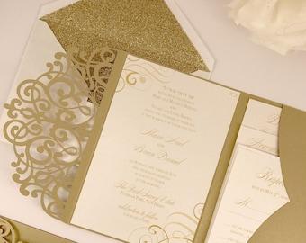 Laser Cut Pocket Wedding Invitation Kit - Gold Wedding Invitation Vintage - Swirl Lasercut Suite