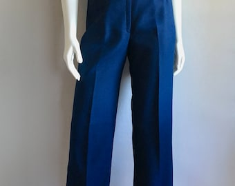 Vintage Women's 80's Navy Blue Pants, High Waisted, Polyester by Haberdashery (S)