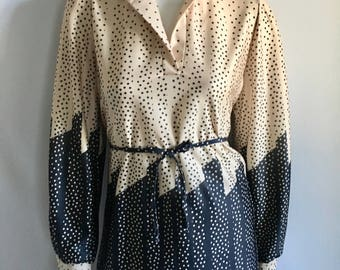 Vintage Women's 70's Disco Blouse, Geometric, Polyester Long Sleeve, Top (M)