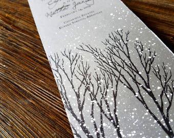 gray winter wedding program winter wonderland wedding program snowy wedding programs gray wedding program rustic winter hand painted program