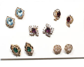 Five Pairs of Pierced Rhinestone Earrings, Women's Costume Jewelry, Holiday Jewelry