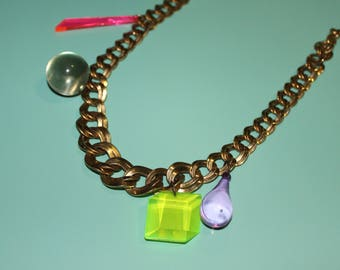 Transitional Sized Chunky Chain Neon Vintage Style Kitschy Charm Bobble Choker Necklace