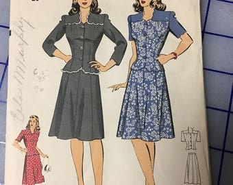 Vintage 40s Hollywood Pattern dress suit sewing pattern 34 bust