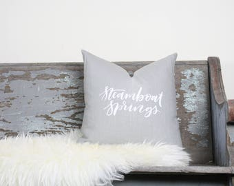 """18""""x18"""" Light Gray Linen with White Ink """"Steamboat Springs"""" Pillow Cover 