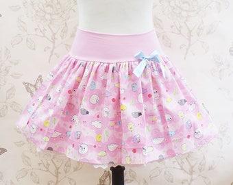 baby seals kawaii skirt stretch ,mamegoma ,white lace pink japanese fabric