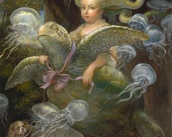 Jellies (print) sea turtle, jellyfish, octopus tentacles, girl, pets, animals, ocean, artwork, illustration, fantasy art, favorite
