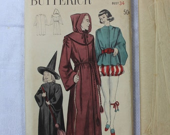 Butterick Sewing Pattern 5062 Size 16 Bust 34 Masquerade Costumes Halloween Monk Witch 1949 VINTAGE by Plantdreaming