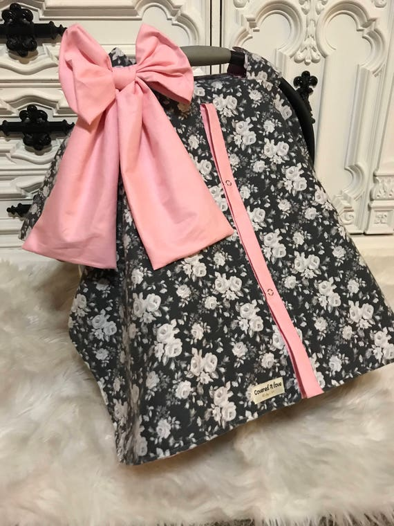 floral and baby pink ,  car seat canopy With light pink accesnts and JUMBO bow