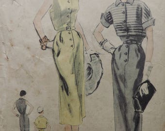 Vintage 1950s Vogue 7847 Sewing Pattern New Look Dress and Bolero Jacket Size 14