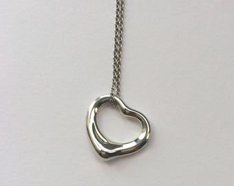 90s Vintage Tiffany & Co. Sterling Silver Elsa Peretti Mini Open Heart Pendant Necklace