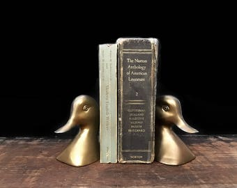 Brass Duck Bookends, Goose Bookends, Woodland Decor, Rustic Decor, Cabin Decor, Solid Brass Bookends, Man Cave
