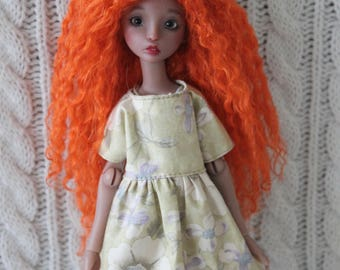 Merida Carrot mohair wig for Cerisedolls Chibi Lana or Popovy Sisters doll
