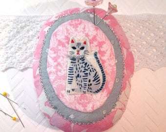 Pincushion- Here Kitty Kitty Pincushion, Gray Tabby, hand made with hand embroidery and emery-  Ready to Ship