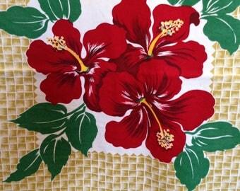 "Vintage Caliprints Hibiscus Printed Tablecloth and Napkins Set 56x84"" basketweave cotton Bright & Sharp!"