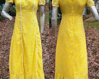 Vintage Maxi Dress, Yellow Dress, 60s Dress, Vintage Costume, Flocked Dress, 60s Costume, Floral, Vintage Dress, Long Dress, Summer Dress
