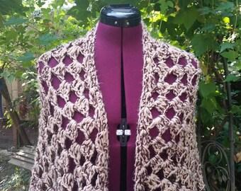 Brown Shawl Crochet Shawl Brown Wrap Crochet Wrap Vintage 1970s Shawl Womens Shawl Bohemian Shawl Boho Shawl Hippie Shawl 1970s Movie Prop