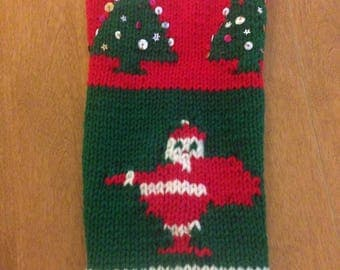 Christmas Stocking Personalized, Knit Christmas Stocking, Santa Stocking, Tree Christmas Stocking, Christmas Stocking Sequins