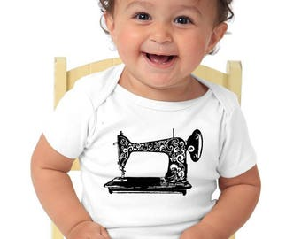 Sewing Machine Baby Shirt Organic Cotton Baby Onepiece, Hand Screenprinted Sewing Machine Graphic Tee Shirt For Infants Seamstress gift