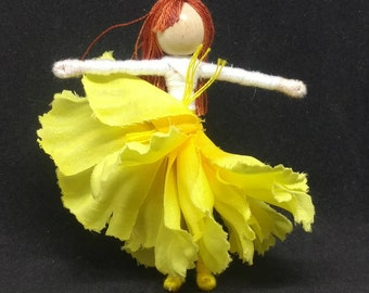 Waldorf Flower Fairy Doll -Yellow  Carnation Flower Fairy Doll, Waldorf, Art Doll, Worry Doll, Faery, elemental
