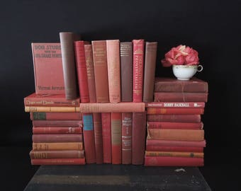 Books by the Foot - Rustic Red Brick Vintage Books for Decor - Distressed Books by Color By the Foot - Customized Books Home Staging