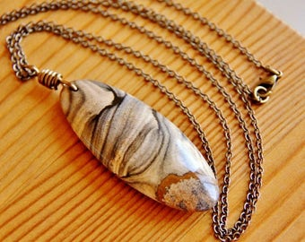 Picture Jasper necklace, picture jasper pendant necklace, layering necklace, semiprecious jewelry, long boho necklace natural stone necklace